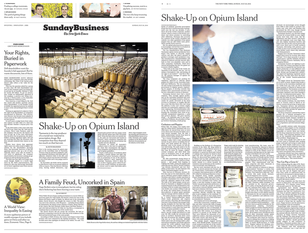 The New York Times, Sunday Business front page  & Spread