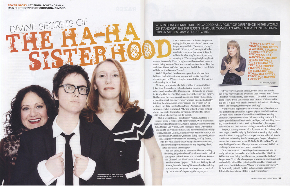 THE BIG ISSUE - Women in Comedy Cover Story