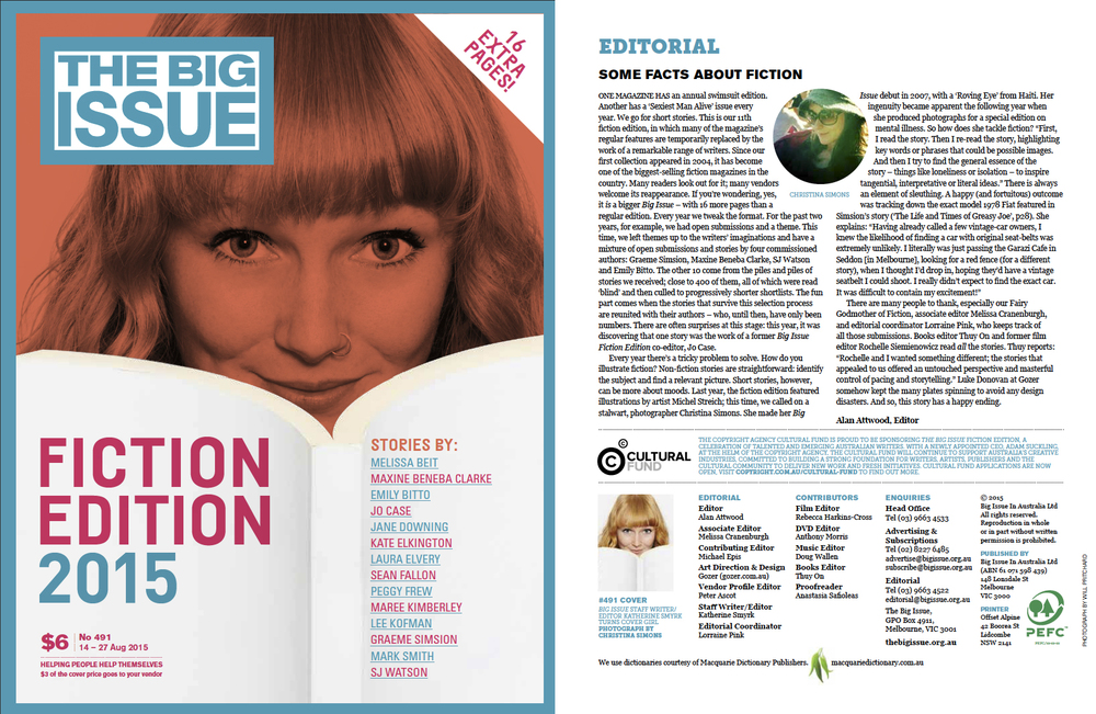 THE BIG ISSUE - 'The Fiction Edition' Front Cover 2015