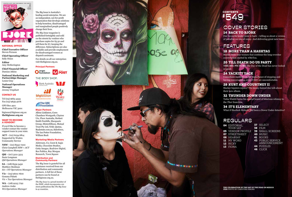 "THE BIG ISSUE - ""Dia de los Muertos"" Contents Page 2017"