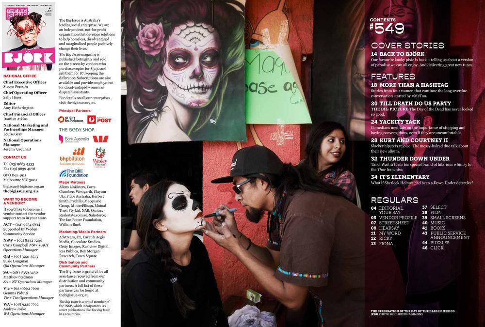 """THE BIG ISSUE - """"Dia de los Muertos"""" Contents Page 2017"""