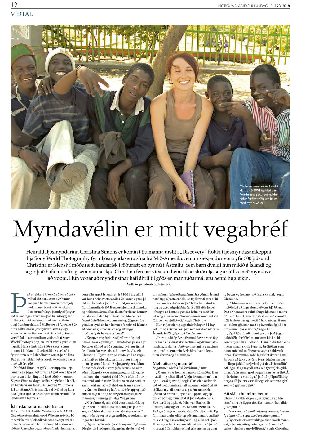 Morgunblaðið (Iceland's main Newspaper) Sunday Magazine March 2018 Page 12