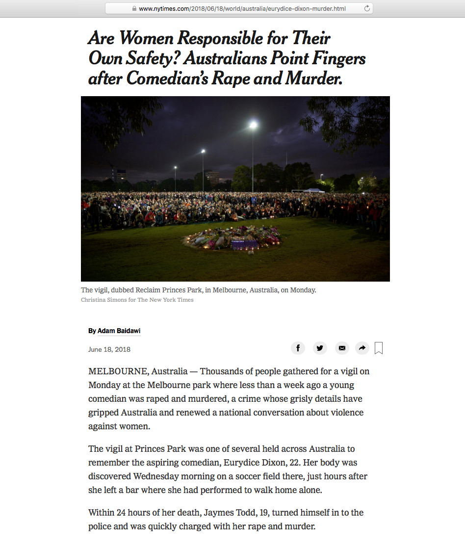 The New York Times - Eurydice Dixon Vigil Princes Park 18th June 2018 - P1