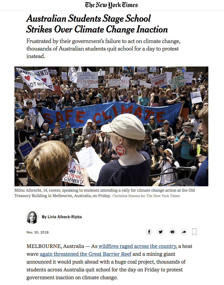 The New York Times - Australian Students Strike Over Climate Change Inaction - 30th November 2018 - page 1