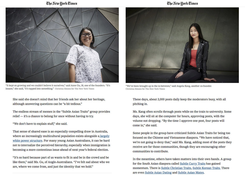 The New York Times - How Facebook Group 'Subtle Asian Traits' Became a Global Hit - 11th December 2018 - 2