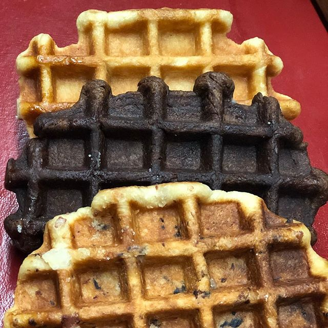 Maple Bacon, Chocolate, and Traditional @suitefoods liege waffles. Which one is your favorite? All waffles are 20% off now at SuiteFoods.com. #orderonline #suitefoods #snackwaffle #chocolate #maple #bacon #pearlsugar