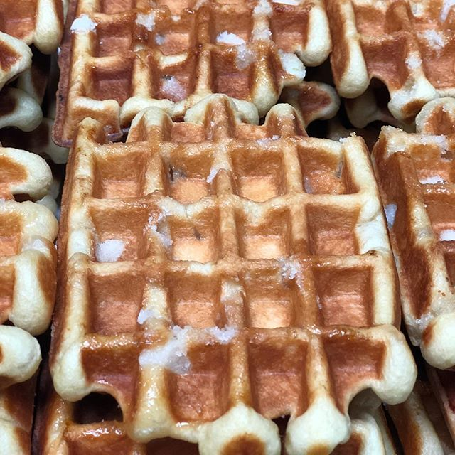 Hot off the press! @suitefoods Traditional flavor liege waffle with crunchy pearl sugar. Mouth = watering. #happyfriday #liegewaffle #pearl #sugar #waffle #weekend