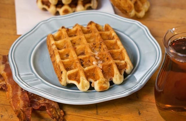 Simple math: Maple syrup + bacon = liege waffle heaven. 🥓 🍁 🍽 #waffles #maple #bacon #liegewaffle #blueplatespecial