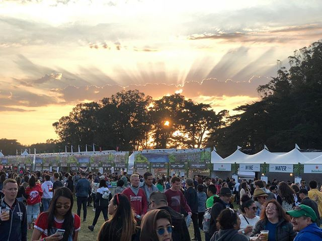 A great end to a very fun day 1! Stop by and see us on day 2! #outsidelands #sunset #sanfrancisco