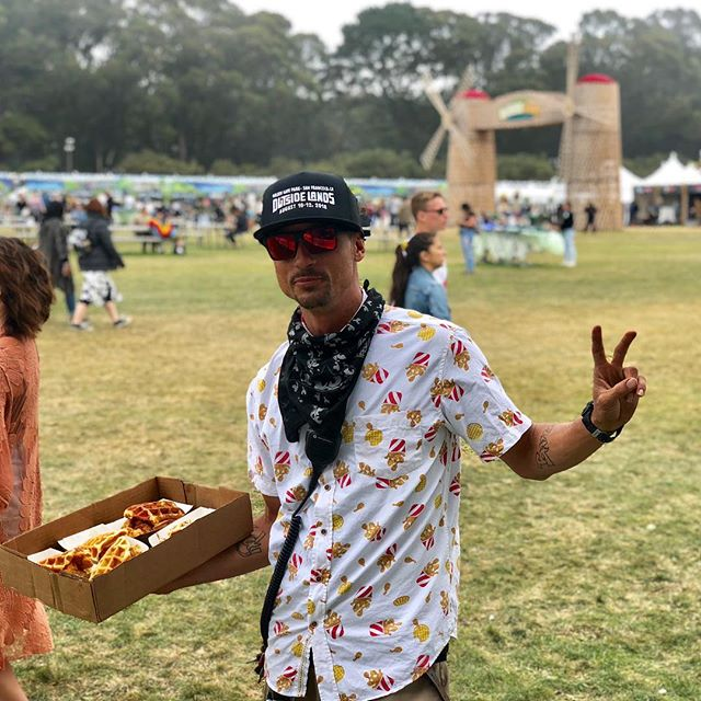 Customer of the day! #outsidelands #chickenandwaffles #BYOchickenandwaffleshirt #goldengatepark #windmill