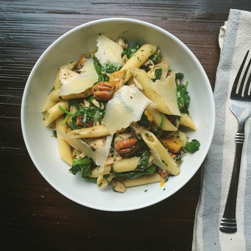 Roasted Chicken Penne with Peaches, Bacon + Pecans Recipe by Homespun ATL | Atlanta, GA | Chef Jason Jimenez