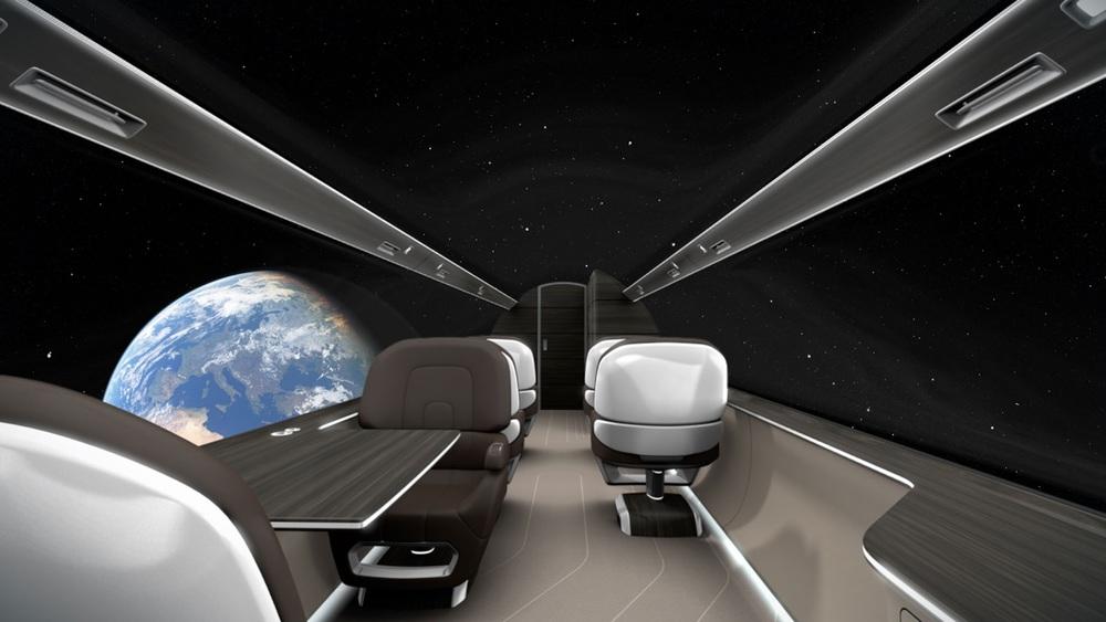 L'avion futuristeIXION des français de  Technicon  et sa baie vitrée virtuelle.