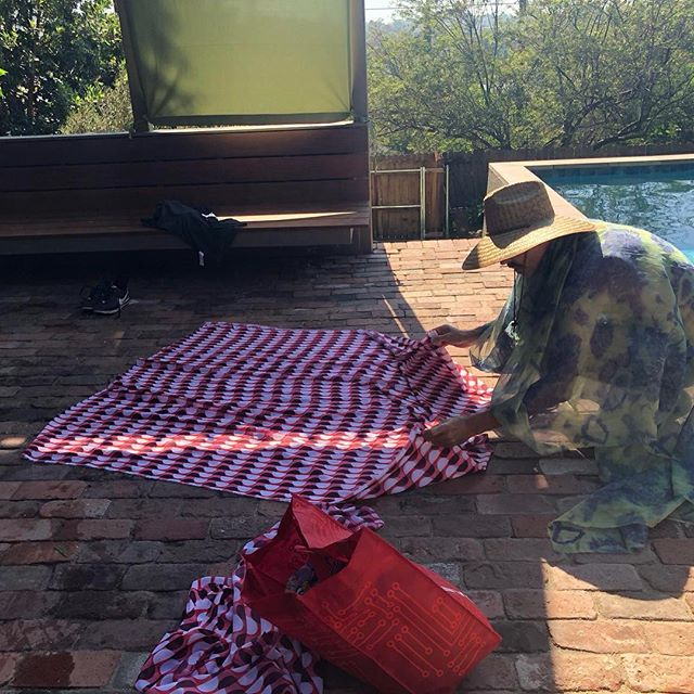 Poolside crafting. Discarded curtain transformed to glamour muumuu in seconds from #dragstrip66 the #frockumentary. #silverlakenights