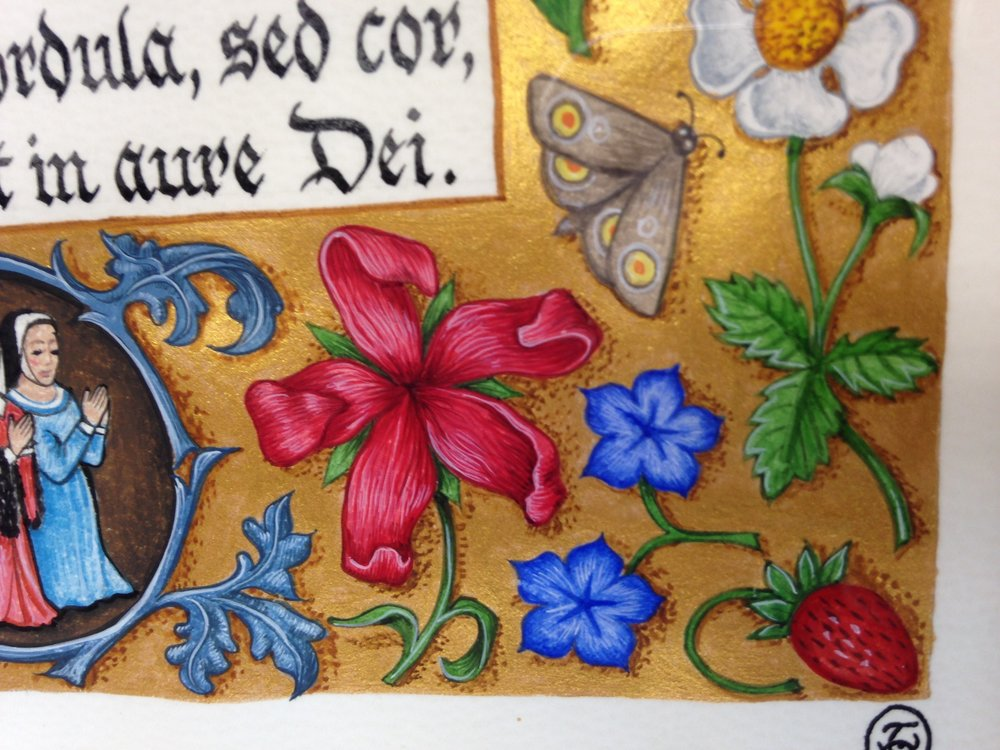 Here's how the expert does it - a detail of some of Tania's beautiful illumination work - part of a 'scatter border'.