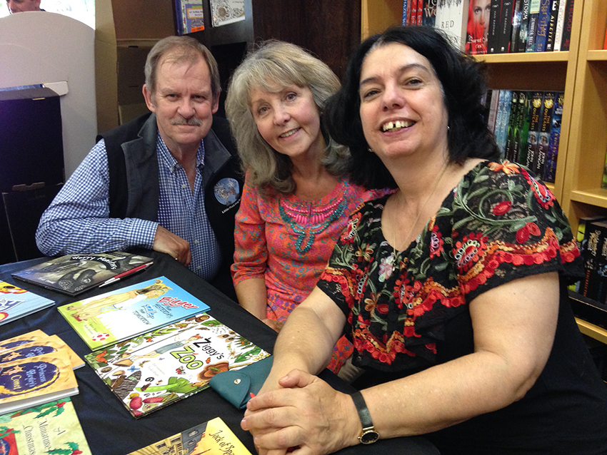 My wonderful, talented and extremely busy publishers Peter and Kathy Creamer (Little Pink Dog Books) and Sophie Masson (Christmas Press).