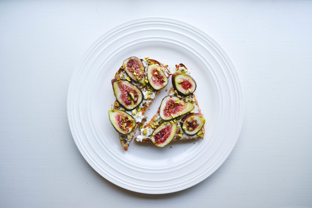 fig +ricotta +pistachio - i also love a good sprinkle of pepper here.
