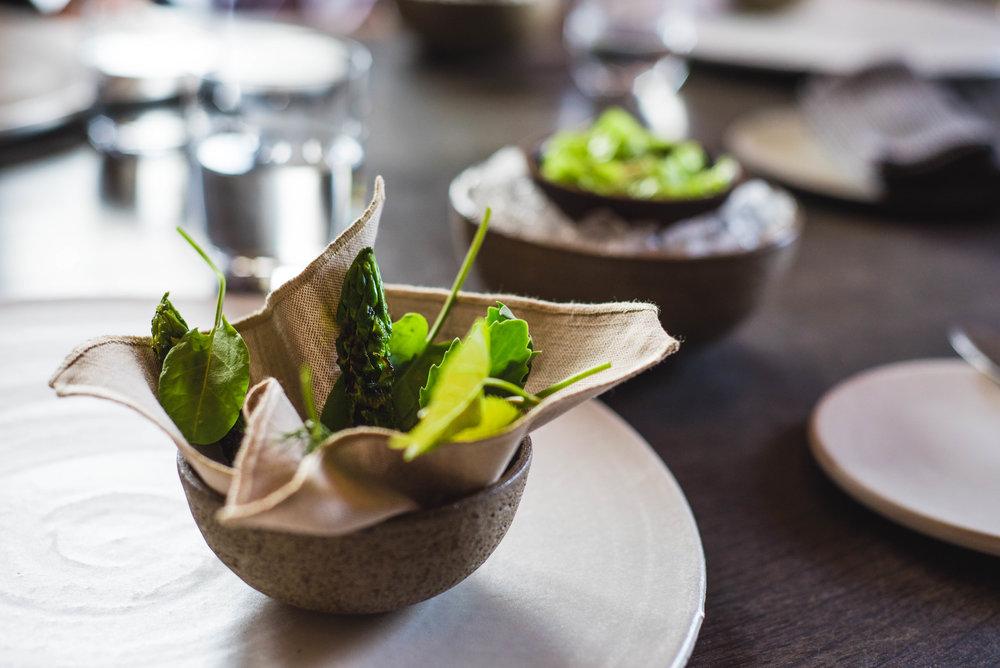 IV. Seasonal Herbs & Fresh Green Asparagus w/Whipped Cream