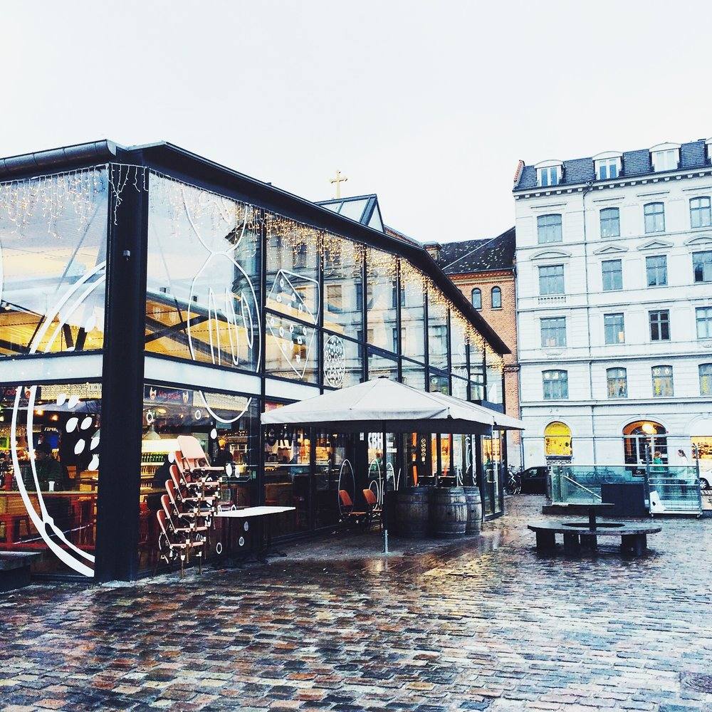 TORVEHALLERNE - BEST FOOD HALL & MARKET EVER!! Glass buildings in city center.