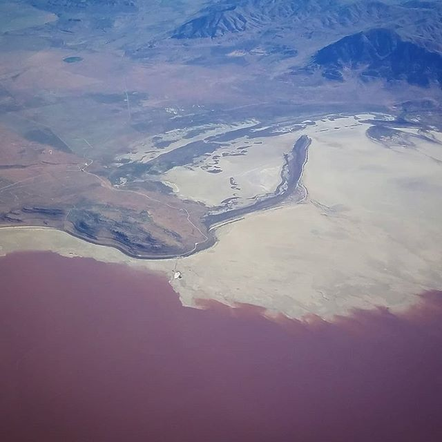 #rozelpoint view #spiraljetty from an #overheadshot #deltaairlines #greatsaltlake #utah #utahlifeelevated #lovinlife #scenicview