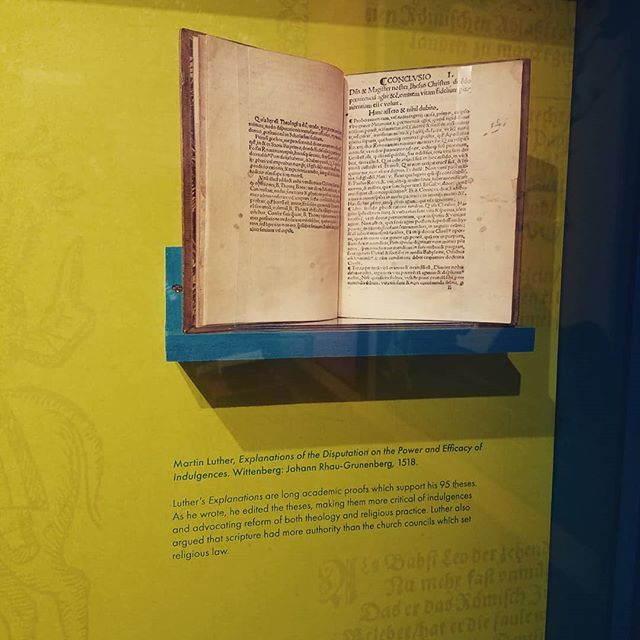 My wife and i took a walk around #BYU for fun.  We stopped at the #library where there was a display of a dozen books from #martinluther and the arguments against him on display. #history #books