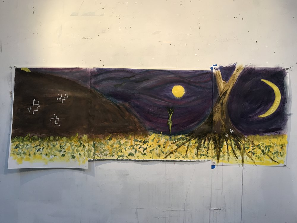 """Three Moons by the Mountain , 2018, acrylic & pastel, 24""""x66"""""""