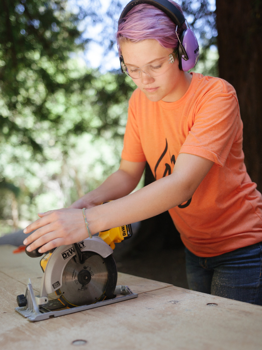 Anna with the circular saw
