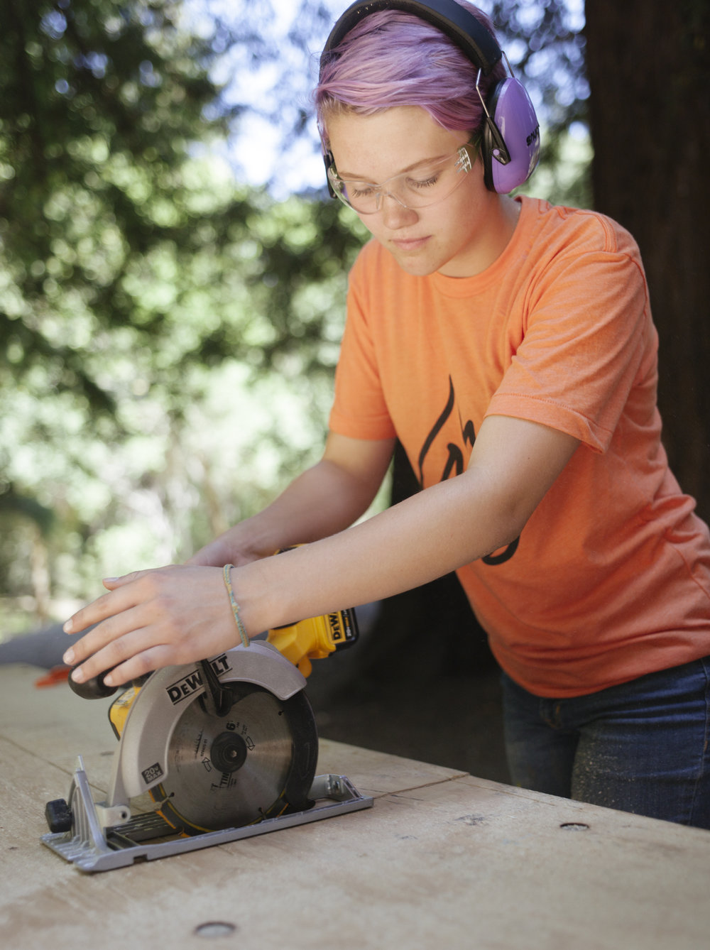Anna on the Circular Saw