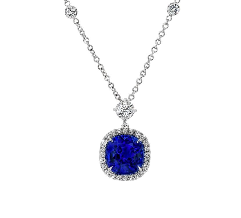 Gemstone pendants gordon james fine diamonds fabulous 584 carat cushion cut tanzanite pendant 137 carats of round brilliant cut diamonds surround aloadofball Images