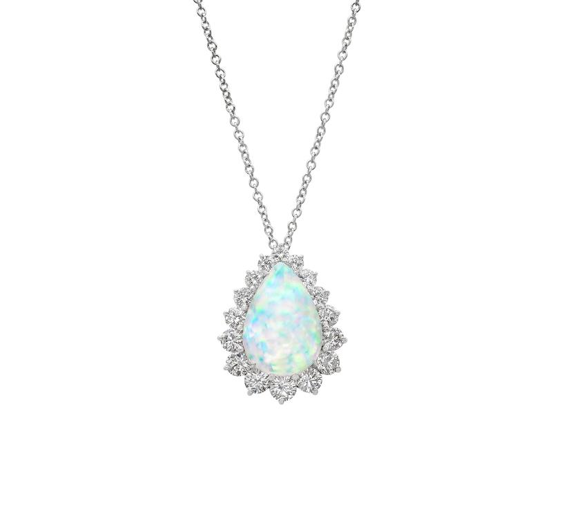 Gemstone pendants gordon james fine diamonds striking 718 carat pear shaped opal pendant 256 carats of round brilliant cut diamonds surround aloadofball Gallery