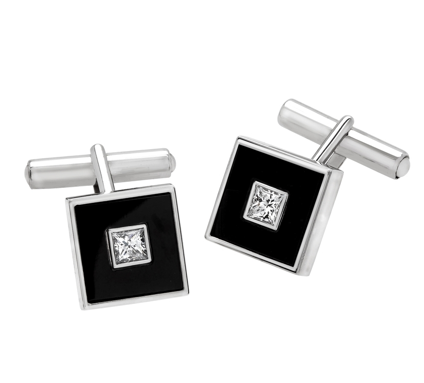 Gents Cufflinks; 0.83 carats of Princess Cut Diamonds in Onyx inlay. Set in 18k white gold.
