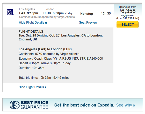 This is NOT the best deal to London, Expedia! (And this is not even first class! Fail.)