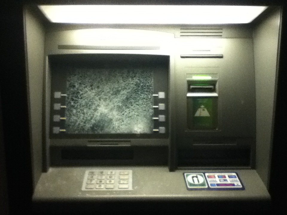 The State of America…or in the case Devizes, England.  No money? Punch an ATM.