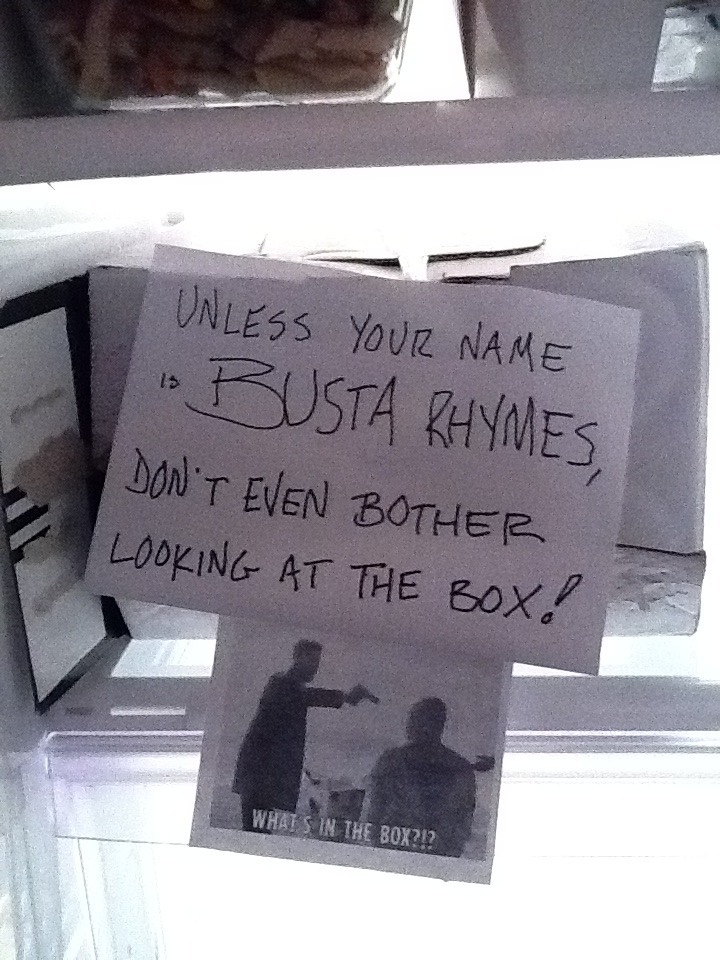 Our friend Paul Pesco, took this photo from the fridge in a recording studio in NY. Okay Busta, we won't eat your lunch.