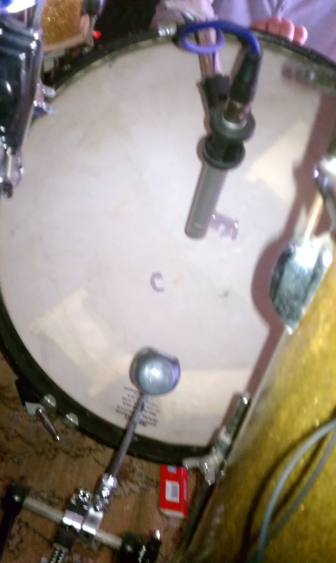 "Phil was ""rocking"" way too hard - we busted through the vintage drum head today."