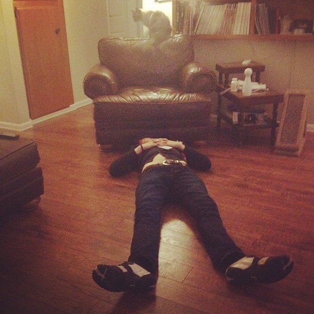 Phils asleep. I guess this floor is comfy. (Taken with Instagram)