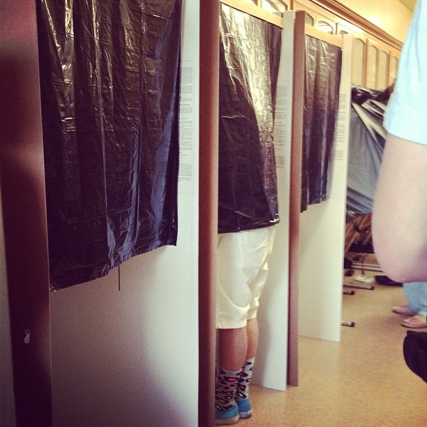 Our voting booths are made from cardboard and trash bags… #TrashBagVotingBooths #MadeInAmerica