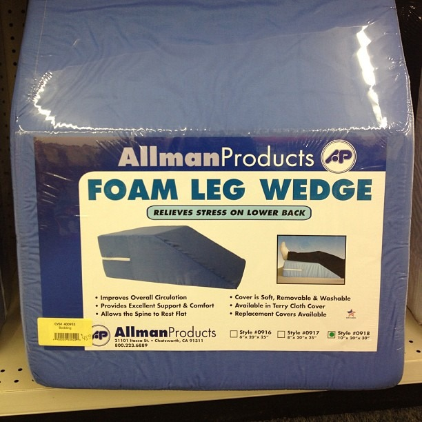 "They sell this in cvs for $40… This ""foam leg wedge""… Sure it is…."