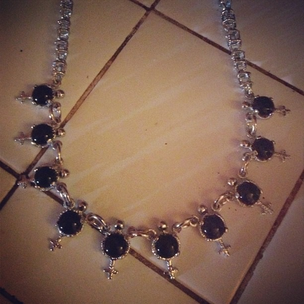 I love this necklace!!! Custom made with black onyx from Kostas.