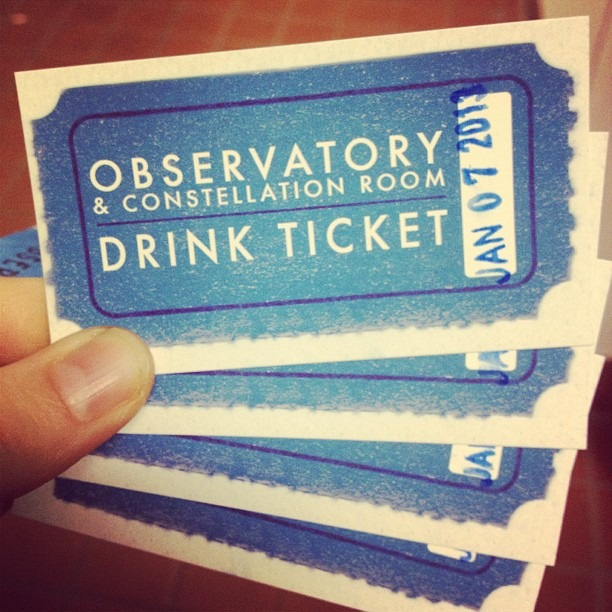 Paid in full. #drinkticket #observatory #constellationroom #popnoir #wellhungheart #bottomsup