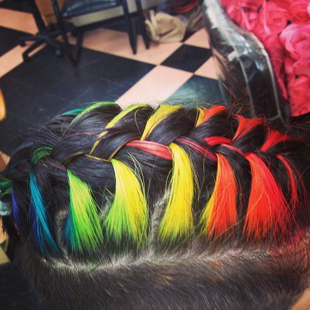 Rainbow hair French braid! Thanks Tara! #rainbowroll #rainbowhair @taragouveia