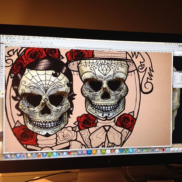 Working on the final Well Hung Heart album art. Hand drawn illustration by @carlyzuanich and Image Manipulation and Compositing by me, Gv. #wellhungheart #albumart #sneakpeak #dayofthedead #tattoos #roses #love #hate #diadelosmuertos