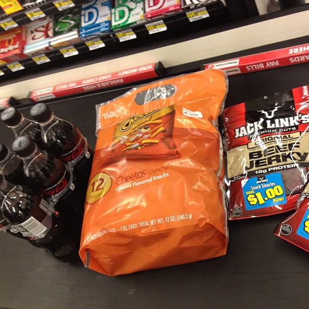 Getting Tour supplies. This is how we pay our crew! @nicopriest @masonmccullough #wellhungheart #dirtysouth #sxsw #cheetos #cokezero #beefjerky