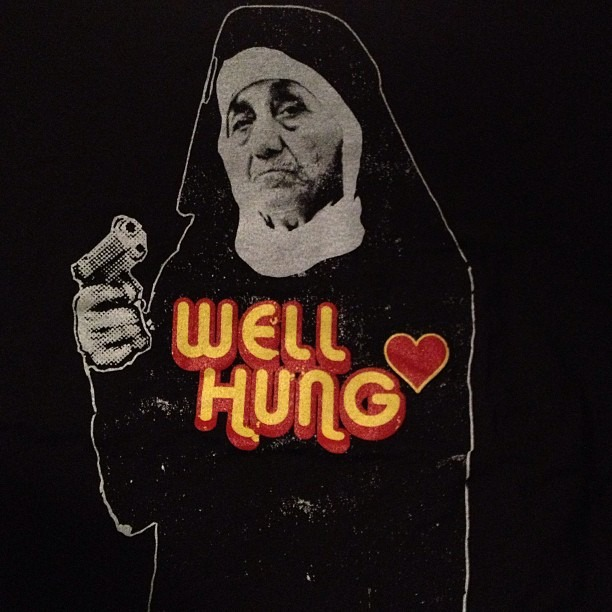 Other tees are in! #nunwithagun #gangstateresa #wellhungheart