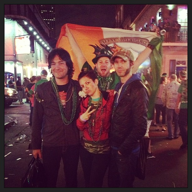 From last night - #band photo on #BourbonStreet !  #wellhungheart #photobomb by the #flagguy #irish #stpattysday #neworleans