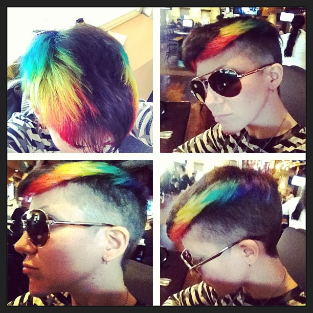 For those who wanted more pics… READY for our @WellHungHeart ALBUM RELEASE PARTY at #DetroitBar in #CostaMesa THIS #SATURDAY - 9PM!!     #new #haircut #color #rainbow #rainbowhair #noproduct #unstyled #shave #buzzcut #undercut #mohawk Cut/Color by @taragouveia #rocknroll #concert #rock @gretavalenti @therobindavey #waitingforyummiesinmytummmies (at Yard House)
