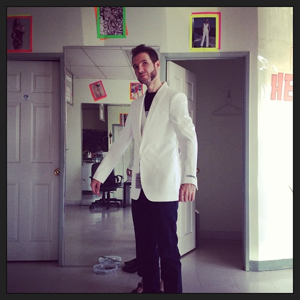 @therobindavey getting fitted for his #wedding #tux #suit . #cute #love #rocknroll