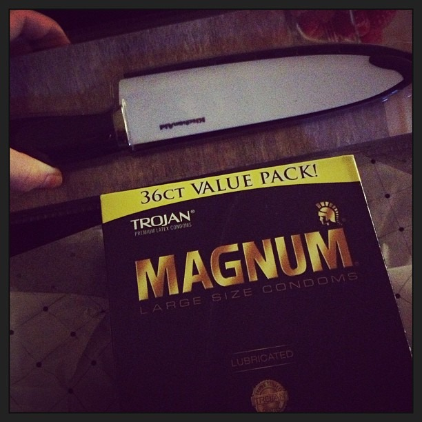 Best combination of #gifts for our #wedding presents yet! Thanks @mo! Haha #knife #condoms #magnum #trojans