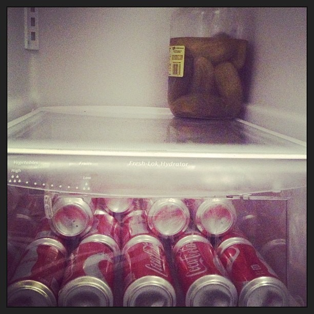 #Pickles and #cokes!! My dream house party fridge.