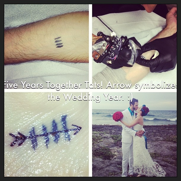 Five Year #Wedding #Tats by Mikey at #OuterLimits in Orange.