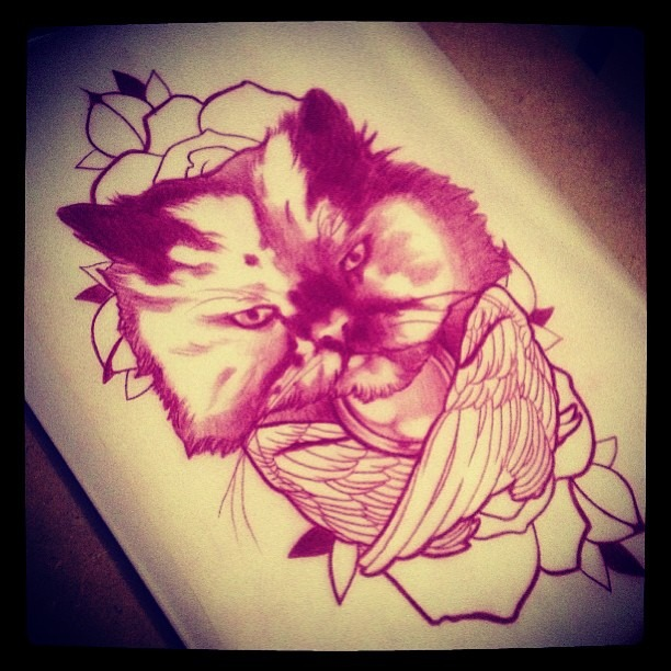 Super duper excited to have this custom tattoo done of my spirit kitty Annie, Friday in #London by Marco El Nigro @elnigrotat2 !!!! whoo hoo!! so rad!!!!!!!!